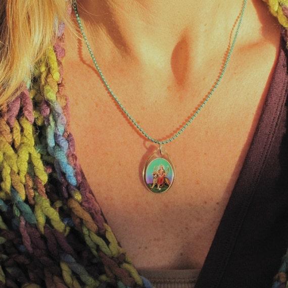 Hindu Goddess Necklace,Teal Ball Chain