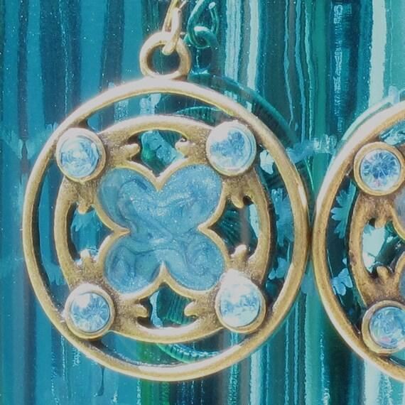Aqua Baroque Earrings, Antique Gold and Aqua