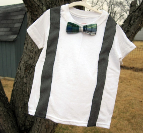 Bow tie suspenders toddler shirt by kelseymcmargaret on etsy for Baby shirt and bow tie
