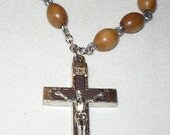 Pocket Rosary, 1 decade, brown olive wood beads with 1.75 inch Crucifix, item  P1030950