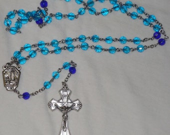 Blue Crystal Rosary, 6mm beads,Great gift Rosary. Item 01007