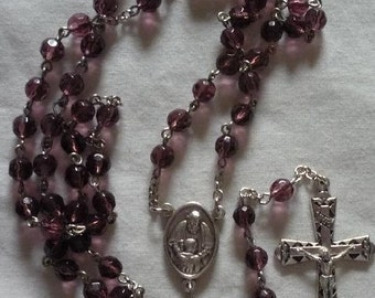 Purple crystal Rosary , Prodigal Son Center 6mm beads. Item 010076