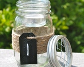 Mason Jar with Jute Accent Vase / Frog Flower Lid and Votive Candle Holder / Chalkboard Tag