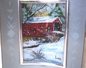 REDUCED fOR THE HOLIDAYS Bucks County Covered Bridge, This is a curved reverse painting on glass winter scene.  It is free standing.