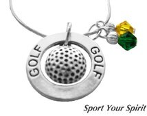 Personalized, Golf Necklace, Team Colors, Swarovski Necklace, Golf Jewelry, National Champion, Mom Necklace,Team Gift, Golf, (Made to Order)