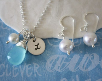4 Bridesmaid Gift, Necklace & Earrings, Initial Necklace, March Birthstone Necklace