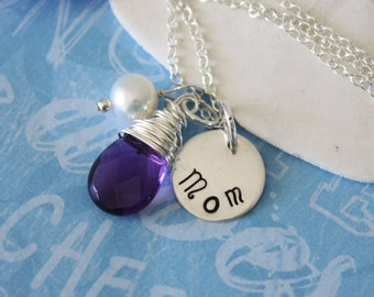 Mother Gift, Personalized Necklace, Pearl & Gemstone Sterling Silver Necklaces