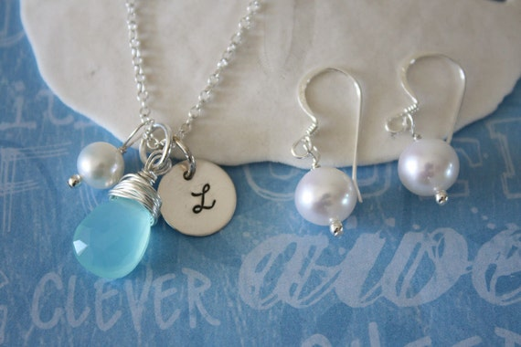 3 Bridesmaids Gift Set, Necklace & Earrings, Initial Necklace, March Birthstone Necklace