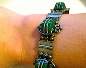 Vintage (40s) Mexican Sterling Silver & Green Stone Bracelet