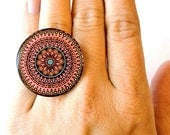 Oversized Pink Boho Design Ring