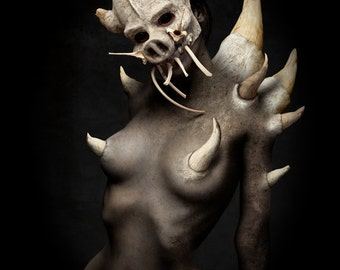 "Dark Art, Fantasy Art, Photographic implied nude, Limited Edition Photograph ""The Dragon"""