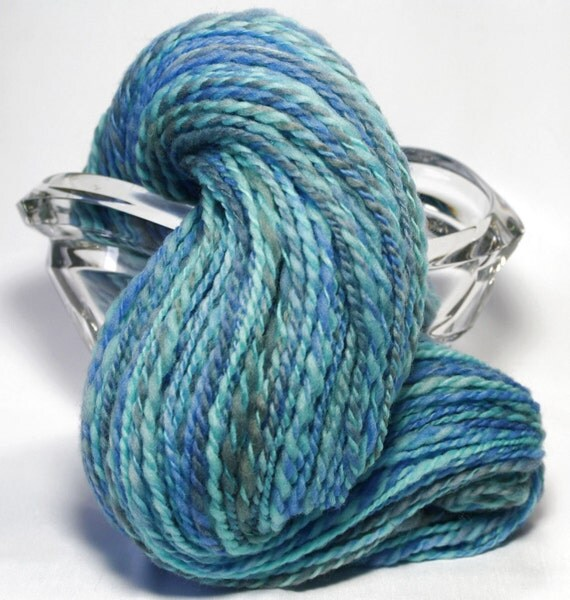 Handspun Yarn - Waterfall - Merino Wool, Worsted Weight, 244 yards