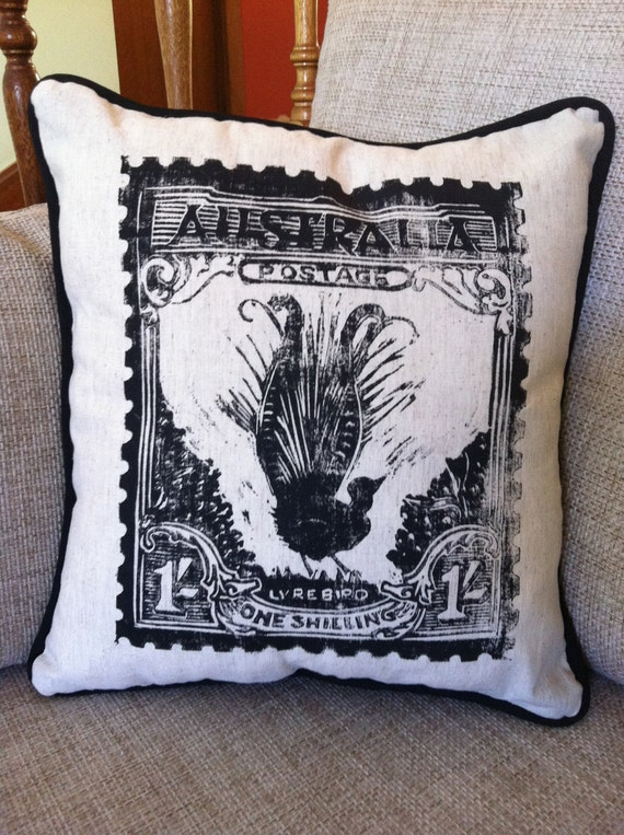 Lino Printed Linen / Cotton Cushion with 1932 Australian Lyrebird Postage Stamp design
