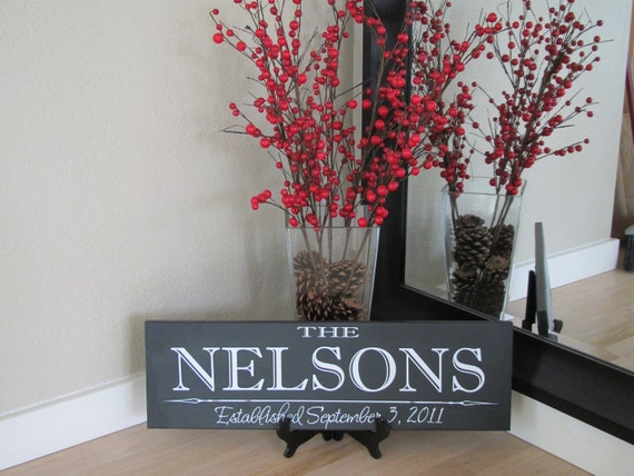 24x9 Custom/Personalized Family Name Wood Sign Plaque with Established Date, you choose the colors!