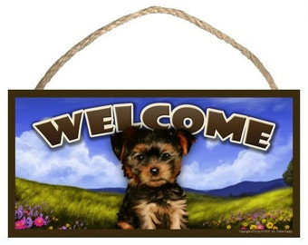 "Yorkie Spring Season 10"" x 5"" Wooden Welcome Sign"