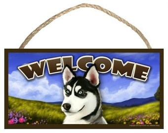 "Siberian Husky Spring Season 10"" x 5"" Wooden Welcome Sign"