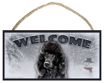 """Poodle (black) Winter Season 10"""" x 5"""" Wooden Welcome Sign"""