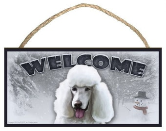 "Poodle (white) Winter Season 10"" x 5"" Wooden Welcome Sign"