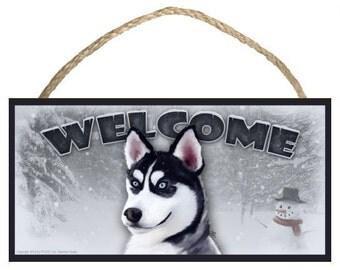 "Siberian Husky Winter Season 10"" x 5"" Wooden Welcome Sign"