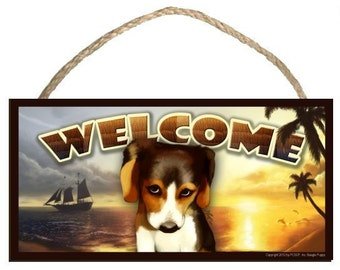 """The Guilty Beagle (portrait view) Summer Season 10"""" x 5"""" Wooden Welcome Sign"""