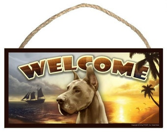 "Great Dane Summer Season 10"" x 5"" Wooden Welcome Sign"