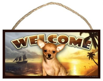 "Chihuahua (tan) Summer Season 10"" x 5"" Wooden Welcome Sign"