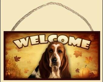"Basset Hound Fall / Autumn Season 10"" x 5"" Wooden Welcome Sign"