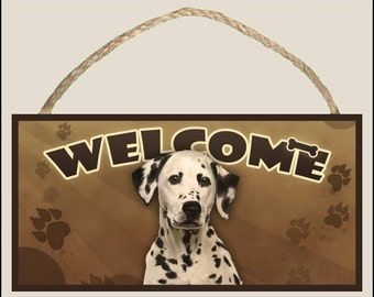 """Dalmatian 10"""" x 5"""" Wooden Welcome Sign"""