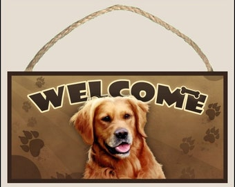 """Golden Retriever 10"""" x 5"""" Wooden Welcome Sign"""