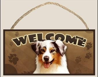 "Australian Shepherd ( Aussie ) 10"" x 5"" Wooden Welcome Sign"