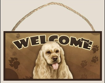 """Cocker Spaniel (tan) 10"""" x 5"""" Wooden Welcome Sign"""