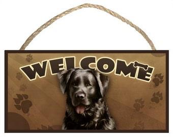 "Black Lab (Labrador Retriever) 10"" x 5"" Wooden Welcome Sign"