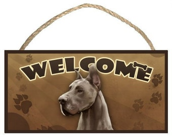 """Great Dane 10"""" x 5"""" Wooden Welcome Sign"""