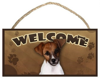 "Jack Russell 10"" x 5"" Wooden Welcome Sign"