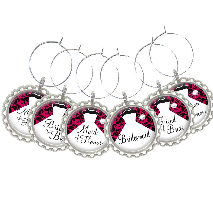 set of 6 personalized wine charms bridal damask
