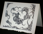 "Artist Original Art Greeting / 5x7 Note Card Print ""The Fear Within"" - Design Swirls Detailed Gothic"