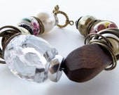 Wooden and Floral Boho Summer Bracelet -- Ready to Ship
