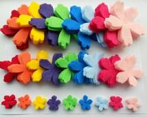 135 die cut out felt flower pieces- 9 colors, 3 sizes, 5 of each.  Neon skittle rainbow spring summer colors - lotus azalea shape