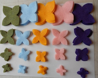 80 pieces spring muted colors die cut felt flower pieces mossy green, light blue, purple, yellow, light pink