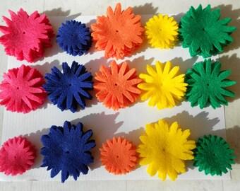 120 pieces - 8 of each piece. 120 Felt flower die cut pieces felt crafts felt flower magnets hot pink, navy, orange, yellow, bright green