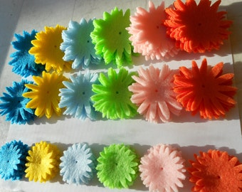 144 pieces/8 each die cut felt flower magnet pieces felt crafts spring flowers/Dk blue/green yellow light blue lt green lt pink orange
