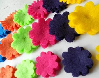90 bold jewel tone flower die cut flower pieces pop out center teal orange magenta purple yellow