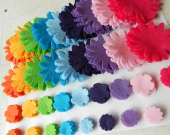 180 pieces felt flower felt crafts felt flower magnet supplies summer rainbow colors die cut 9 colors/5 pieces of each shown