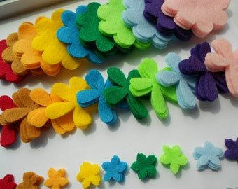 120 felt flower die cut pieces in neon skittle rainbow colors- 3 sizes 4 of each color (10 colors)