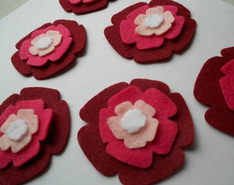 24 pieces - 6 of each piece- of die cut felt flower cut outs- FUN FLOWER SET 2- ombre rose carnation burgundy magenta pink white-