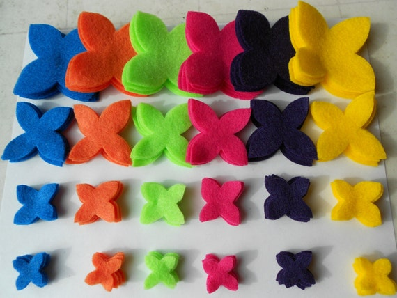 120 piece felt crafts summer rainbow colors bold die cut felt flower pieces - turquoise orange mint green hot pink dark purple yellow