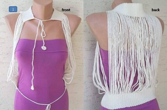 Crochet chain bolero, multi-use, cream, summer fashion, womens accessories, sexy top