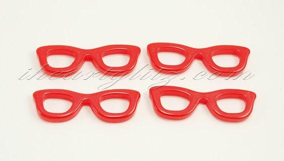 Resin red nerd eyeglass cabochon 4 pcs
