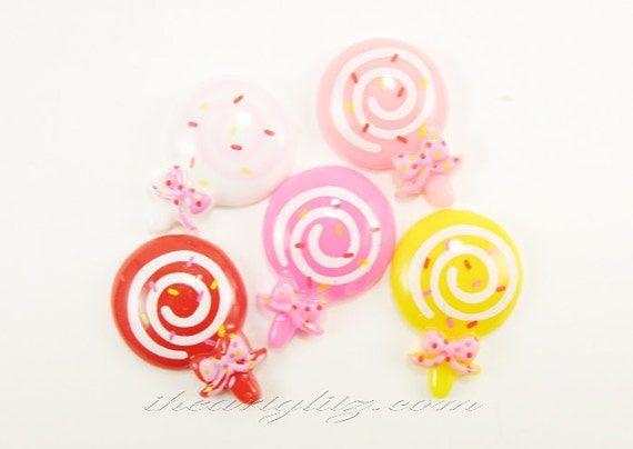 Lollipop Cabochons with Bow and Swirl  Flat Back (mixed colors), 5 pcs