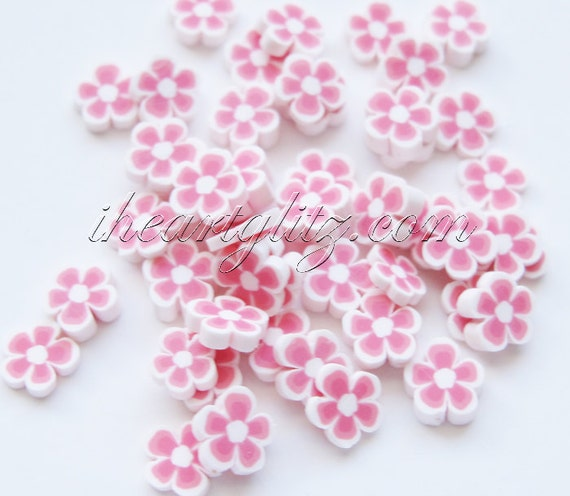 50 pcs, Flower polymer clay slices